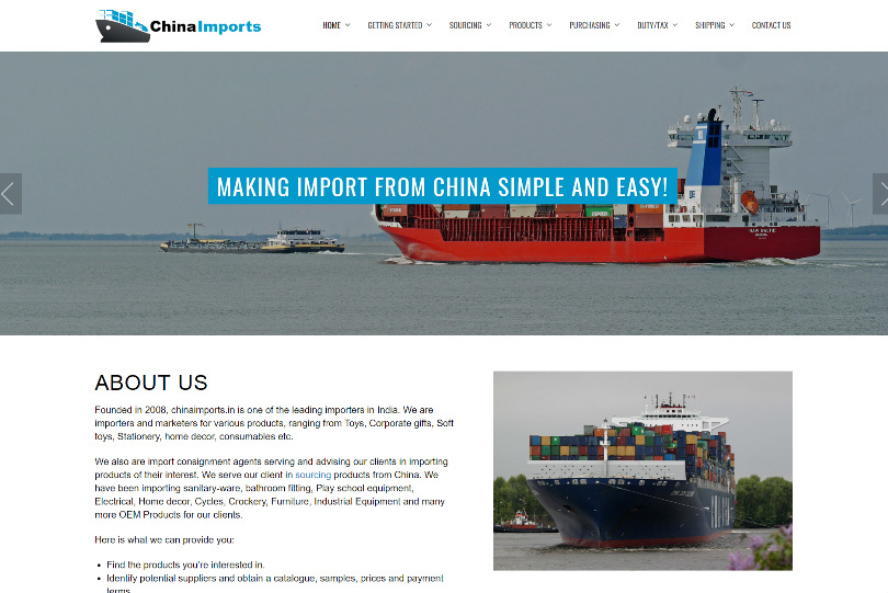China Imports - WordPress Website Designing